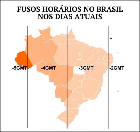 Mapa dos fusos horários do Brasil nos dias atuais