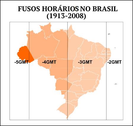 Mapa dos fusos horários do Brasil entre 1913 e 2008