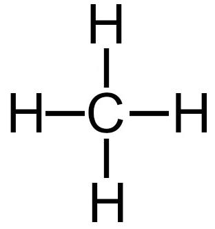 Fórmula estrutural do gás metano