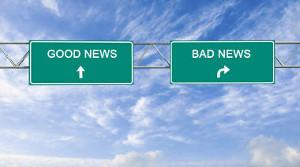 Opções de escolha para boas ou más notícias.