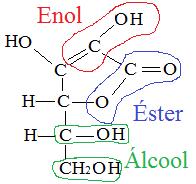 Grupos funcionais da vitamina C – enol, éster e álcool