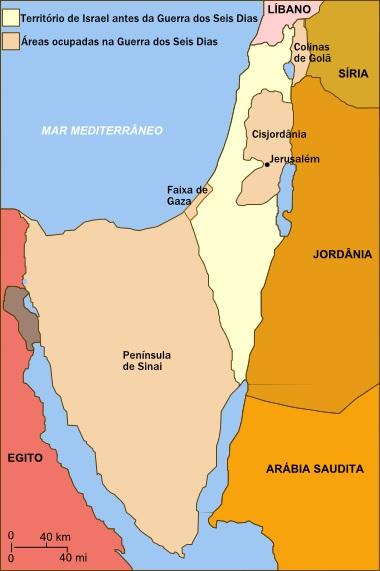 Mapa dos territórios ocupados por Israel na Guerra dos Seis Dias ¹