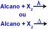 Representação dos reagentes de uma halogenação