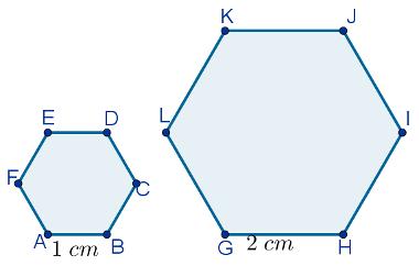 Hexágonos regulares semelhantes