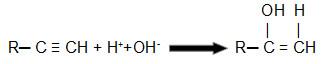 Equação que representa uma hidratação de um alcino qualquer utilizando a regra de Markovnikov
