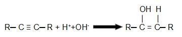 Equação que representa uma hidratação de um alcino qualquer