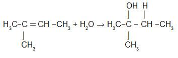 Equação que representa a hidratação do 2-metil-But-2-eno