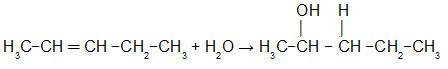 Equação que representa a hidratação do Pent-2-eno