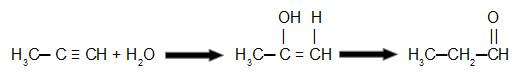 Equação que representa a hidratação do propino