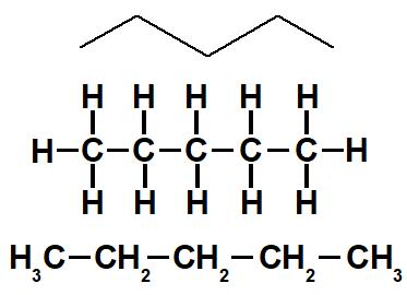 Representação dos hidrogênios na fórmula estrutural.