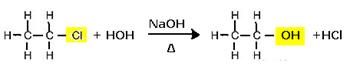 Reação de substituição (hidrólise alcalina) do cloroetano para a formação de um álcool