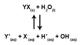 Equação que representa a hidrólise para ácido e base fortes