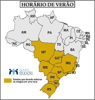 Estados que adotam o horário brasileiro de verão