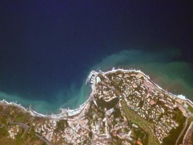Imagem de Satélite da costa da Sicília, Itália