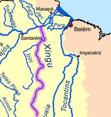 Mapa dos três sítios da Usina de Belo Monte ¹