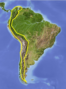Resultado de imagem para MAPA CORDILHEIRA DOS ANDES