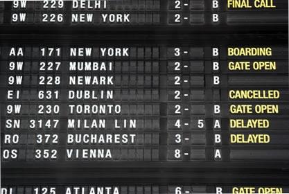 Painel de chegadas e partidas de um aeroporto com informações sobre os voos.*