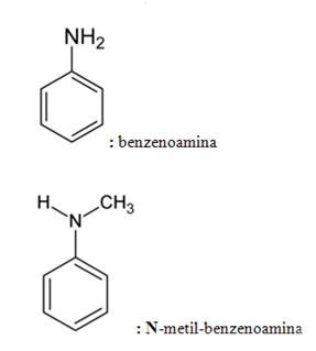 Exemplos de nomenclatura de aminas secundárias e terciárias