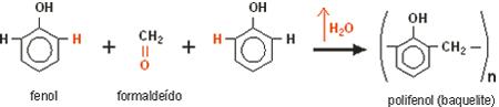 Reação de polimerização da baquelite