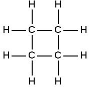 Fórmula estrutural do ciclobutano