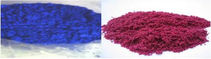 Respectivamente, cloreto de cobalto (azul) e cloreto de cobalto hidratado (rosa).