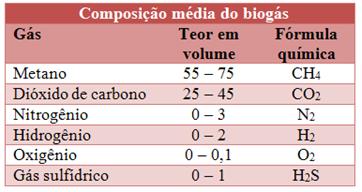 Composição do biogás. (Créditos: mundoeducacao.bol.uol.com.br).