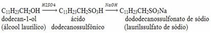 Reação de obtenção do dododecanossulfonato de sódio