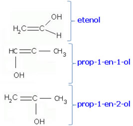 Exemplos de nomenclatura de compostos enólicos