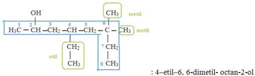 Exemplo de monoálcool com mais de uma ramificação