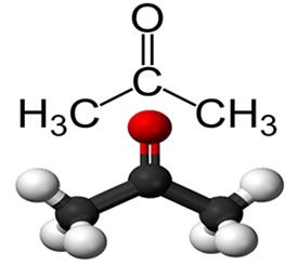 Fórmula estrutural da propanona (acetona)