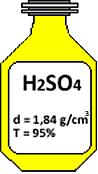 Frasco de ácido sulfúrico usado em exercício