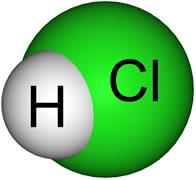Fórmula do gás clorídrico.