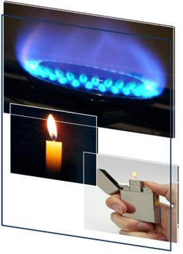 O gás de cozinha, a vela e o isqueiro precisam de uma faísca para reagir