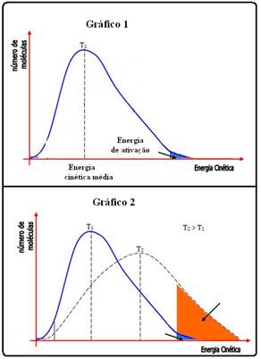 Gráfico do aumento da temperatura em uma reação