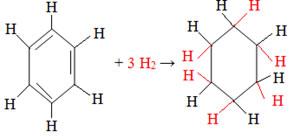 Reação de hidrogenação total do benzeno