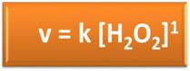 Fórmula da lei da velocidade da decomposição da água oxigenada