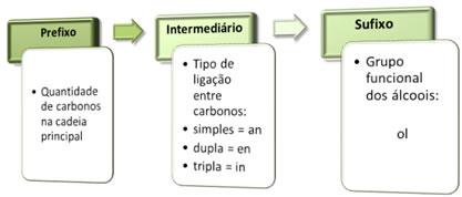 Componentes principais da nomenclatura de álcoois