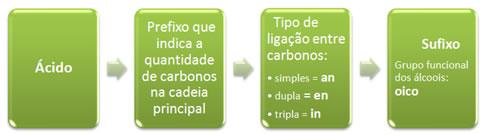 Componentes básicos da nomenclatura dos ácidos carboxílicos