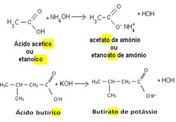 Nomenclatura usual dos sais orgânicos