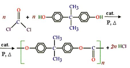 Reação de obtenção do policarbonato