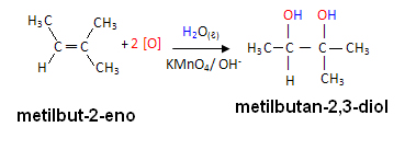 Reação de oxidação branda com alceno