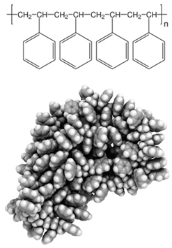 Estrutura molecular do polímero poliestireno