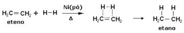 Exemplo de reação de hidrogenação
