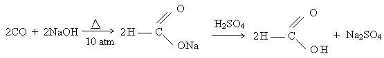 Reação de obtenção do ácido metanoico.