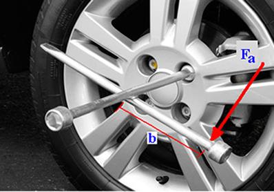 Força aplicada na extremidade da chave de roda