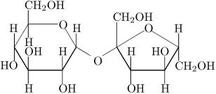 Molécula de sacarose (açúcar comum)