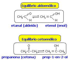 Equilíbrio tautométrico entre aldeído e enol e cetona e enol.