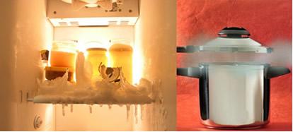 Alimentos na geladeira e o uso da panela de pressão são exemplos que mostram a influência da temperatura sobre a velocidade das reações