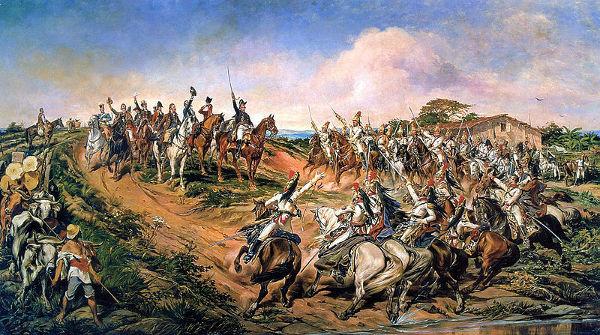 """Pintura de Pedro América chamada """"Independência ou morte"""", que retrata o Grito do Ipiranga."""