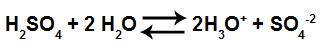 Equação de ionização do ácido sulfúrico
